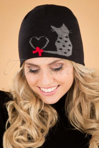60s Love Cats Hat in Black