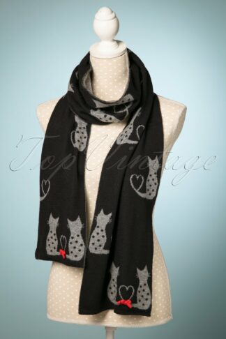 60s Love Cats Jaquard Scarf in Black