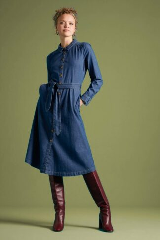 60s Olive Long Sleeve Chambray Dress in River Blue
