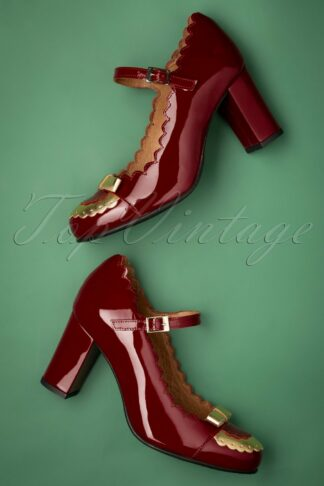 60s Penelope Patent Leather Pumps in Red and Gold