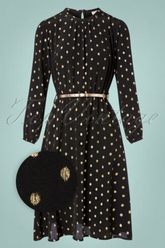60s Poppin' In A-line Dress in Black and Gold