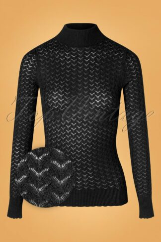 60s Rollneck Solo Top in Black