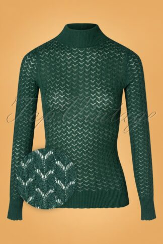 60s Rollneck Solo Top in Pine Green