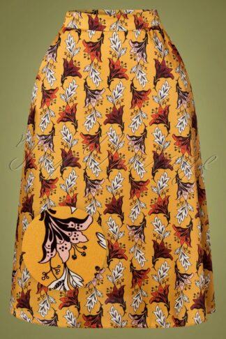 60s Sorry, I'm Busy Swing Skirt in Mustard