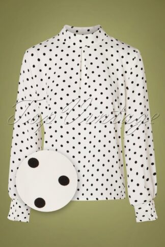 60s Spots Ahead Blouse in White
