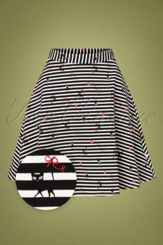 60s Supercalifragil Skirt in Spin The Stripes Black and White