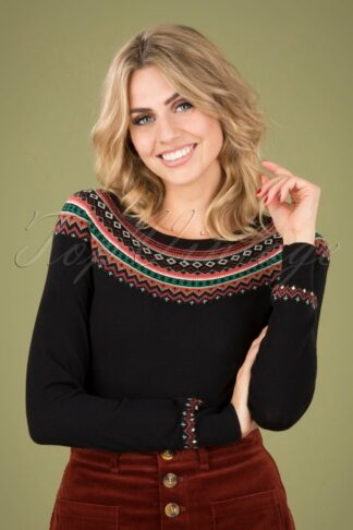 60s Tignes Roundneck Sweater in Black