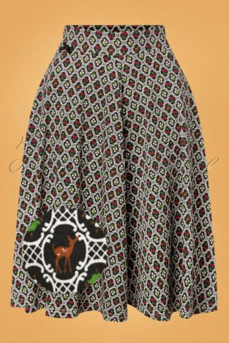 60s Wooden Heart Circle Skirt in Forest Picknick Black