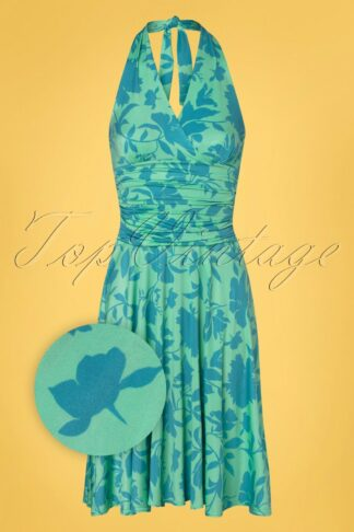 60s Yolanda Floral Halter Dress in Mint and Blue