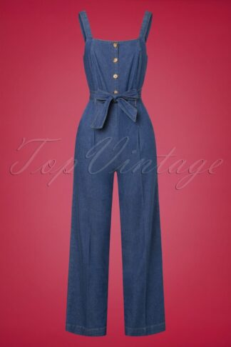 70s Ines Chambray Jumpsuit in River Blue