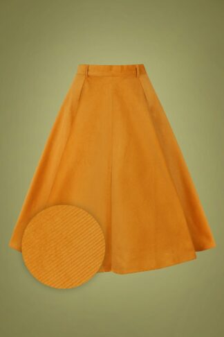 70s Jefferson Swing Skirt in Mustard Corduroy