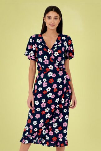 70s Jenny Pretty Floral Dress in Navy