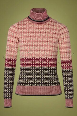 70s Preppy Rollneck Sweater in Dusty Rose