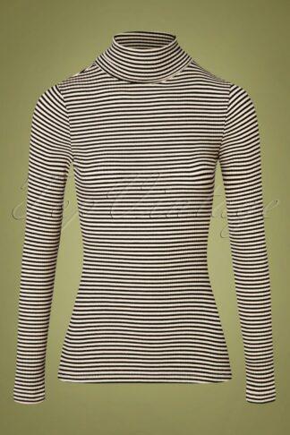 70s Rollneck Tweedy Stripe Top in Black