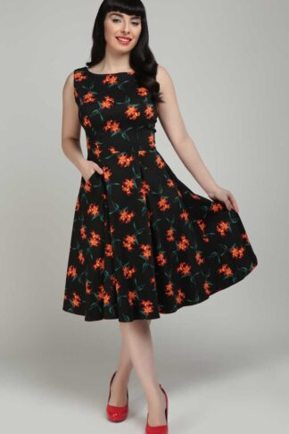 Collectif Classic Swing Dress | Swingkleid Hepburn Midnight Lily von Rockabilly Rules