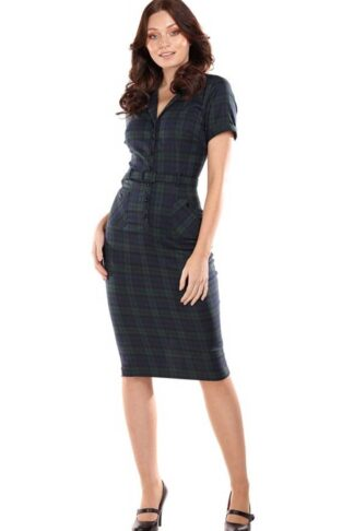 Collectif Pencil Skirt Kleid Caterina Blackwatch Check von Rockabilly Rules