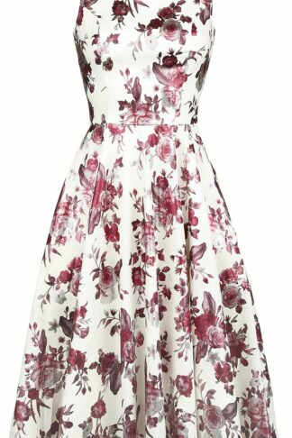 H&R London Aphrodite Metallic Swing Dress Mittellanges Kleid weiß