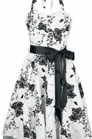 H&R London Floral Long Dress Mittellanges Kleid weiß/schwarz
