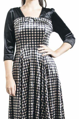 H&R London - Velvet Dream Dress - Kleid knielang - schwarz|beige
