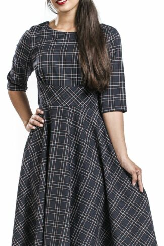 Hell Bunny Peebles 50's Dress Mittellanges Kleid navy