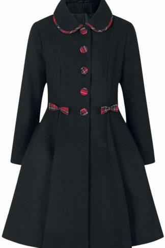 Hell Bunny Tiddlywinks Coat Mantel schwarz/rot