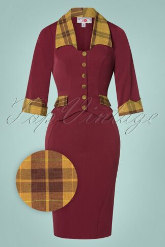 TopVintage exclusive ~ 50s Cecilia Tartan Pencil Dress in Wine