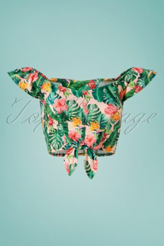 Unreal Redheads Collaboration ~ 50s Floral Tiki Crop Top in Pink