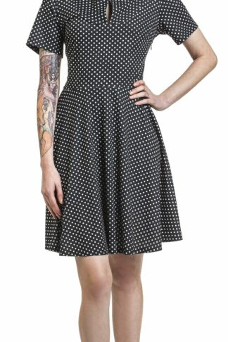 Voodoo Vixen Black Bently Polka Dot Jersey Skater Dress Kurzes Kleid schwarz/weiß
