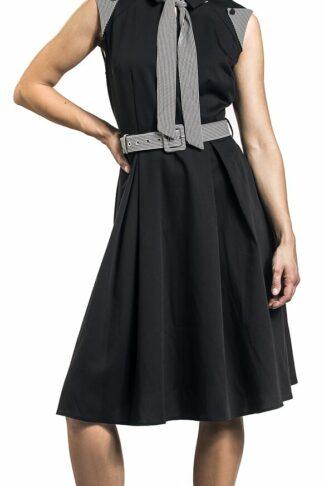 Voodoo Vixen Black Sophie Stripped Skater Dress Mittellanges Kleid schwarz