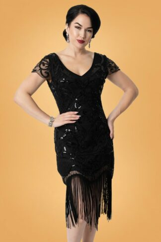 20s Aurore Flapper Dress in Black