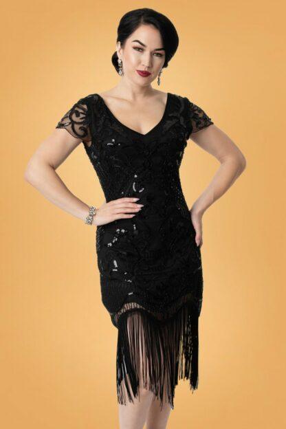 20s Aurore Flapper Dress in Black