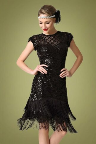 20s Del Mar Flapper Dress in Black