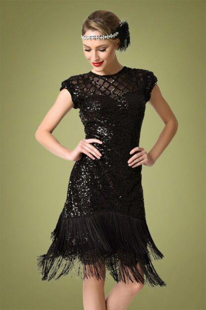 20s Del Mar Flapper Dress in Black