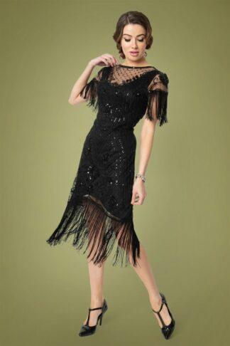 20s Nadine Flapper Dress in Black