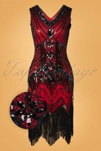 20s Veronique Fringe Flapper Dress in Red