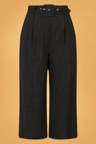 30s Benny Pinstripe Culottes in Black and Grey