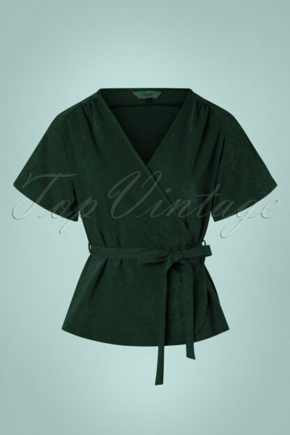 30s Tara Wrap Top in Dark Green