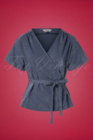 30s Tara Wrap Top in Stone Blue