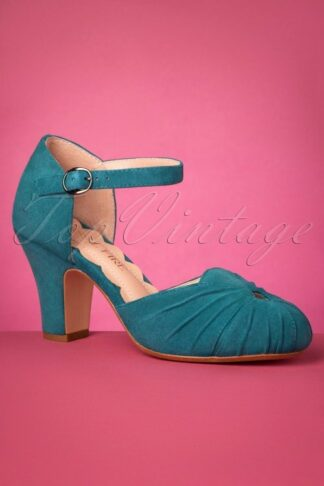 40s Amber Suede Mary Jane Pumps in Teal