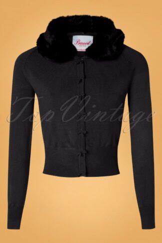 40s April Fluffy Bow Cardigan in Black