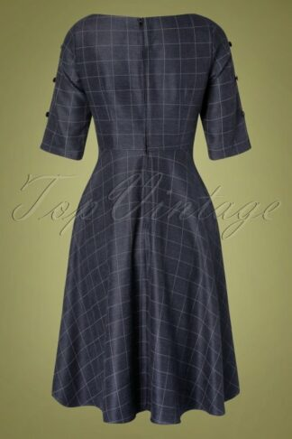 40s Classic Utility Swing Dress in Navy