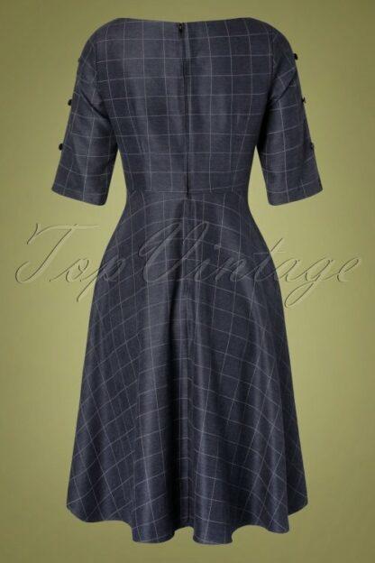 40s Classic Utility Swing Dress in Navy