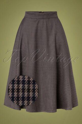 40s Cute Check Mate Swing Skirt in Grey