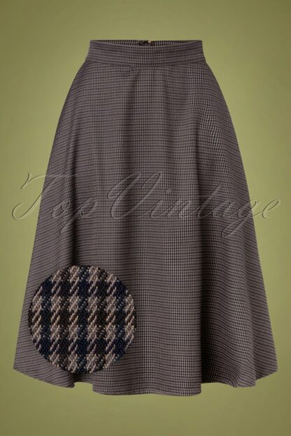 40s Cute Check Mate Swing Skirt in Grey