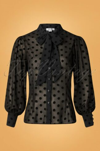 40s Gwen Swiss Dot Blouse in Black
