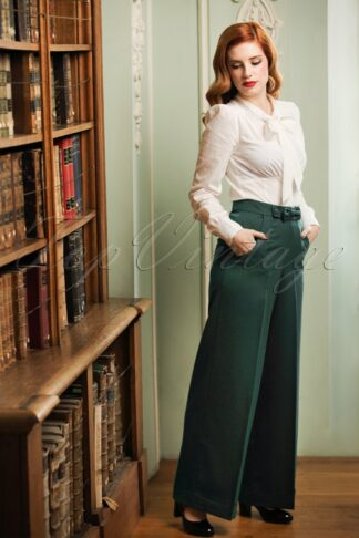 40s Hidden Away Trousers in Teal