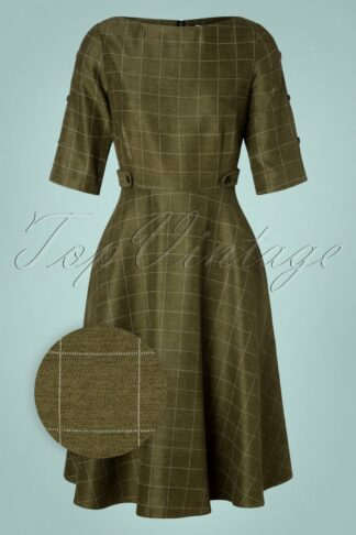 40s Lady Check Swing Dress in Green