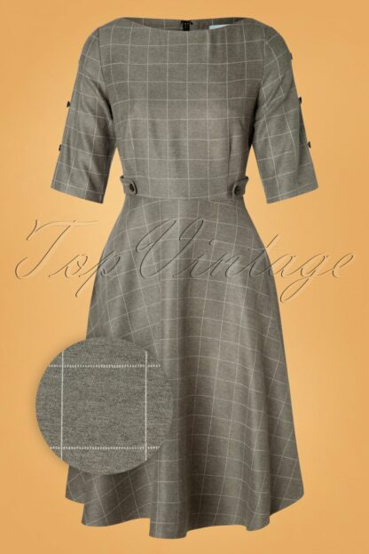 40s Lady Check Swing Dress in Grey
