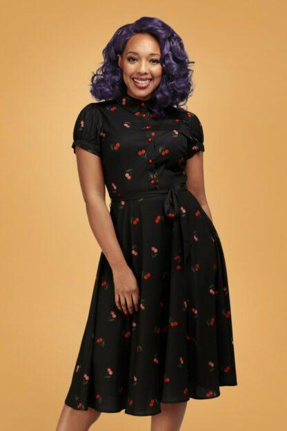 40s Mary Grace Cherry Swing Dress in Black