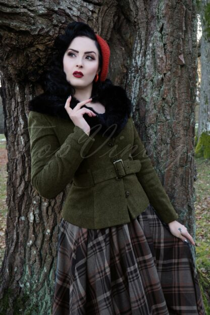 40s Molly Jacket in Olive Green